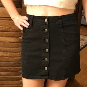 Black high-waist button down skirt